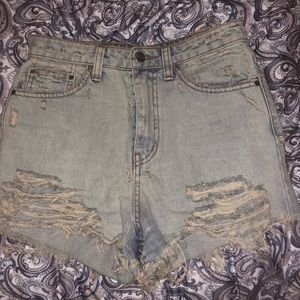 Nasty Gal Distressed High-Waisted Denim Shorts